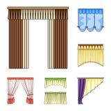 Generi differenti di icone del fumetto delle tende nella raccolta dell'insieme per progettazione Tende e web delle azione di simb Immagini Stock