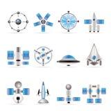 Generi differenti di icone future della nave spaziale Immagine Stock Libera da Diritti