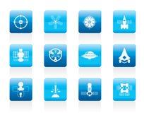 Generi differenti di icone future della nave spaziale Immagine Stock