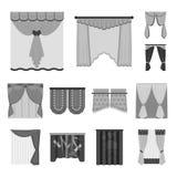 Generi differenti di icone monocromatiche delle tende nella raccolta dell'insieme per progettazione Tende ed azione di simbolo di Fotografia Stock