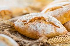 Generi differenti di pane fresco sulla tavola di legno Assortimento isolato di pane su fondo marrone fotografie stock