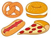 Generi differenti di pasto rapido fatti con pane royalty illustrazione gratis