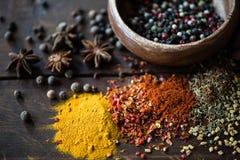 Generi differenti di pepe in ciotola e spezie con le erbe sparse Fotografia Stock Libera da Diritti