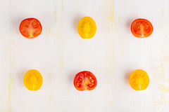 Generi differenti di pomodori affettati Fotografie Stock