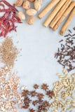 Generi differenti di spezie aromatiche di inverno su fondo concreto grigio, vista superiore, spazio della copia, verticale Immagine Stock