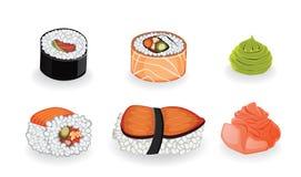 Generi differenti di sushi e di spezia a loro isolato Immagine Stock Libera da Diritti