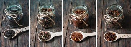 Generi differenti di tè in barattolo e cucchiai di legno sulla tavola di legno fotografie stock libere da diritti