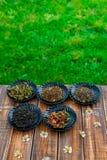 Generi differenti di tè sulla tavola di legno delle bande nere con la camomilla dei fiori nel fondo della natura e del giardino A Fotografie Stock