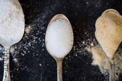 Generi differenti di zucchero nei cucchiai Fotografia Stock Libera da Diritti