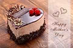 Generi il dolce di cioccolato del giorno del ` s nella forma di cuore Immagini Stock
