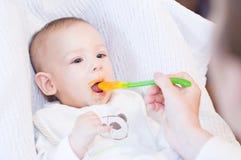 Generi l'alimentazione del suo neonato sorridente adorabile con il cucchiaio Fotografia Stock