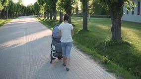 Generi la camminata con il passeggiatore di bambino nel parco, grandi alberi dal lato archivi video
