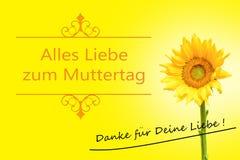 Generi la carta del giorno del ` s in girasole tedesco su beackground giallo Fotografia Stock