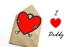 Generi la carta di regalo del giorno del ` s con il papà di amore di parola I, cartolina d'auguri fotografia stock