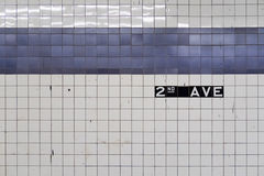 Generic abstract of old subway wall with blue tiles Stock Photo