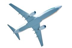 Generic airplane model on white. Generic airplane model isolated on white Royalty Free Stock Image