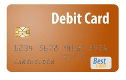Here is a generic bank debit card isolated on a white background. stock illustration