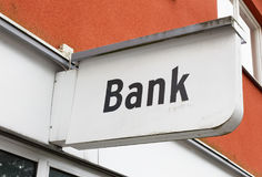 Bank office sign. A generic bank sign outside a bank office royalty free stock photo