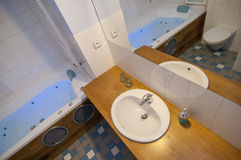 Generic bathroom. Wide angle view of moder bathroom Royalty Free Stock Photos