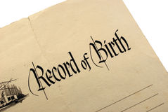 Generic Birth Certificate. Generic and Blank Birth Certificate or Record of Birth Royalty Free Stock Photo