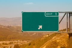 Generic Blank Freeway Exit Sign Royalty Free Stock Image