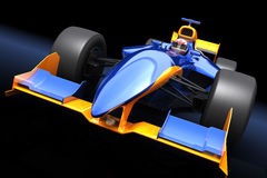 Generic blue race car. On the black background Stock Photography