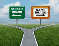 Generic Brand Versus Brand Name. As a concept for marketing with two competing street signs at a cross roads or fork in the road metaphor for advertising and Royalty Free Stock Photography