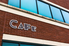 Generic Cafe Sign. Corporate business park cafe sign on a brick wall Stock Images