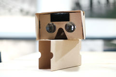 Generic Cardboard Viewer on Wooden Table Stock Image