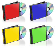 Generic CD boxes. In various colors Stock Image
