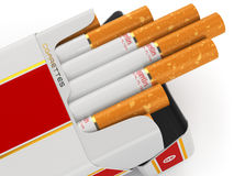 Generic cigarette pack on white background. Stock Photos