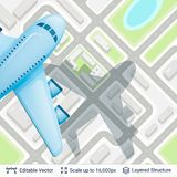 Abstract city plan and airplane. Royalty Free Stock Photography