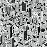 Generic City Seamless Pattern Isometric Royalty Free Stock Photos