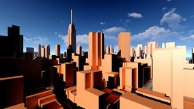 Generic cityscape architecture 3d rendering Royalty Free Stock Photo