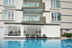 Generic Condominium outdoor with swimming pool Royalty Free Stock Image