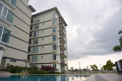 Generic Condominium outdoor with swimming pool Royalty Free Stock Photography
