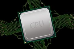 Generic CPU with Electrical Connections Stock Photography