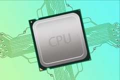 Generic CPU Labeled with Electrical Connections Stock Image