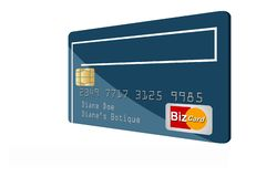 This is a generic credit card isolated on a white background. It is an illustration with generic logo and name stock illustration