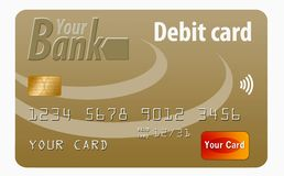 This is a generic debit card. It is an illustration with generic logos and is isolated on a white background vector illustration