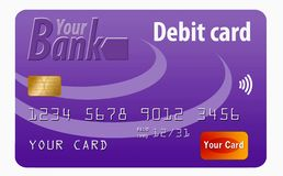 This is a generic debit card. It is an illustration with generic logos and is isolated on a white background royalty free illustration