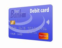 This is a generic debit card. It is an illustration with generic logos and is isolated on a white background stock illustration