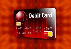 This is a generic debit card. It is an illustration isolated on the background stock illustration