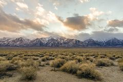 Generic Desert Scene. Generic arid desert scene together with cumulus clouds above stock image