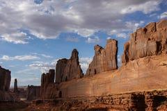 Generic Desert Scene. Generic arid desert scene together with cumulus clouds above stock images