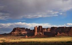Generic Desert Scene. Generic arid desert scene together with cumulus clouds above stock photos