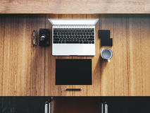 Generic design laptop on the workspace with Stock Photography