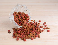 Generic dry cat food in glass bowl spilled Stock Images