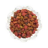 Generic dry cat food in glass bowl top view Stock Photos