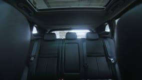 Generic empty car interior. Track forward shot stock video footage